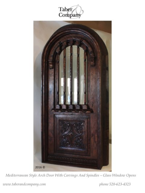 Arched wood entry doors wooden entry door taber companytaber company for Exterior door with round window