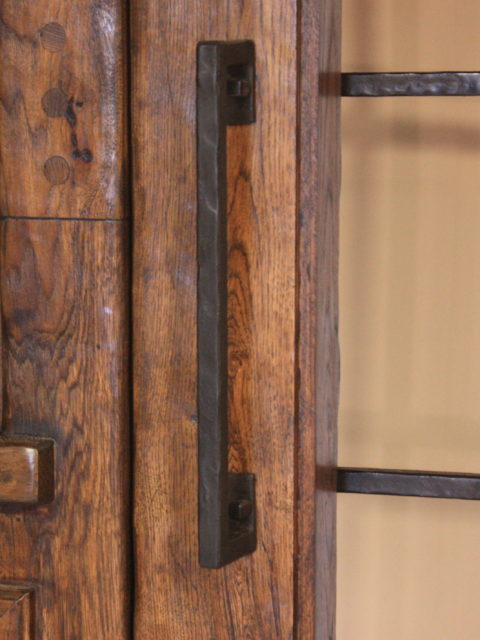 Handcrafted Wood Front Entry Door With Glass And Wrought