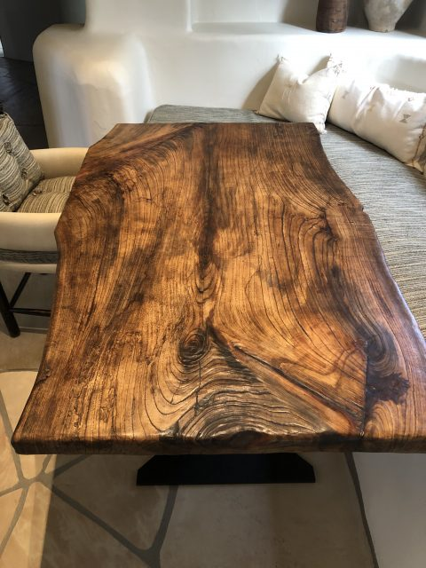 A live edge dining table.